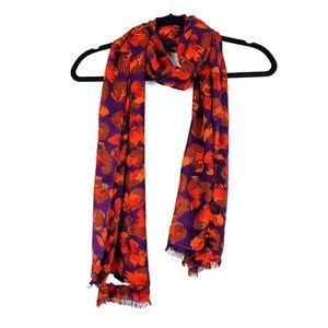 LOFT | Purple Orange Fallen Leaves Raw Hem Scarf
